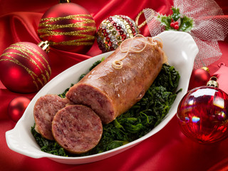 pork sausage over christmas table