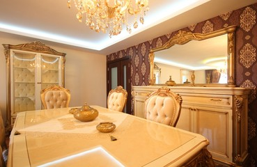 Wealthy classic dinning room and the furnitures