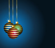 Striped ornaments. Colorful balls on a blue festive background.