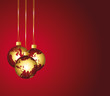 Global ornaments. Red and gold festive background.