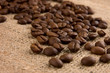 Coffee beans on burlap close up