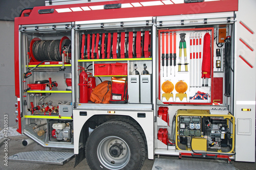 Emergency equipment inside fire truck