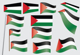 set of flags of Palestine vector illustration