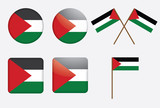 set of badges with flag of Palestine vector illustration