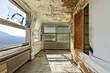 old abandoned house, interior, windows