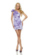 Full length of beautiful blond female standing in lilac dress