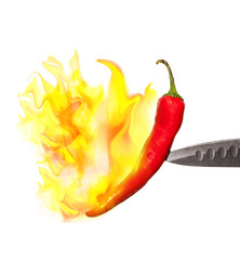 red pepper in flames isolated on white background