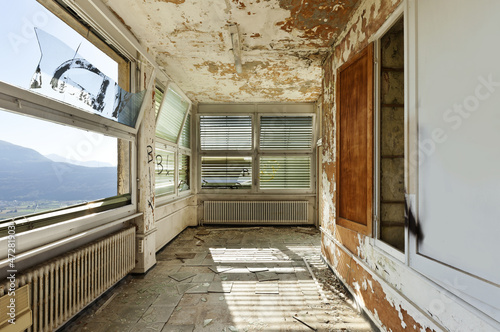 old abandoned house, interior, windows
