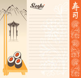Menu for sushi in a landscape with a lake and mountain