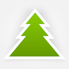 Green Paper Vector Christmas Tree Applique.