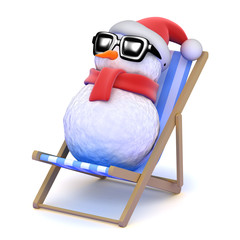 Snowman relaxes in a deckchair