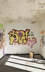 abandoned house, wall with graffiti