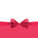 Bright frame with red satin ribbon on polka dot background