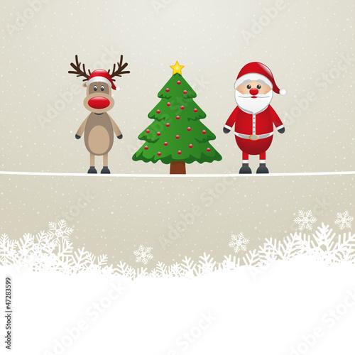 santa reindeer tree on twine snowy background