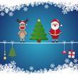 santa reindeer tree on twine snow background