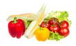 pepper, salad, ripe yellow corn and tomato