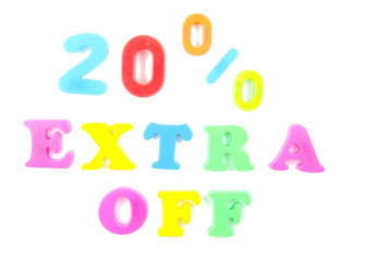 20% extra off written in fridge magnets