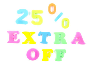 25% extra off written in fridge magnets