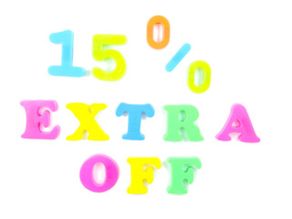 15% extra off written in fridge magnets