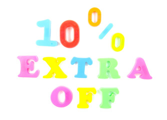 10% extra off written in fridge magnets