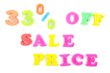 33% off sale price written in fridge magnets