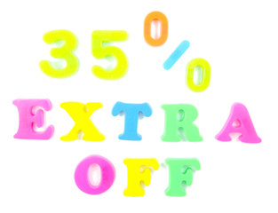 35% extra off written in fridge magnets