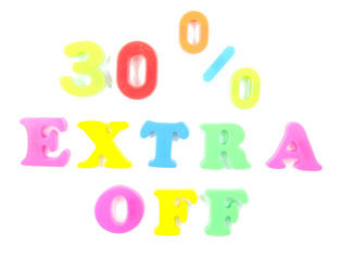30% extra off written in fridge magnets