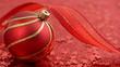 Weihnachtsbaumkugel auf Rotem Hintergrund. Sterne fallen runter