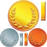 vector set of gold, silver and bronze coins