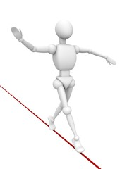 balancer white human character walking on red rope