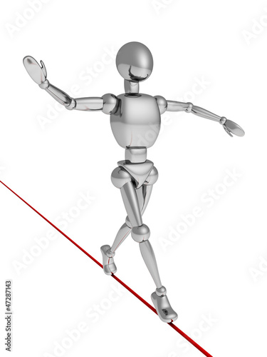 balancer metallic human character walking on red rope
