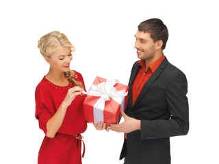 man and woman with present