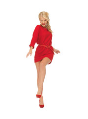 dancing lovely woman in red dress