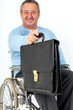 Friendly man in a wheelchair presents briefcase