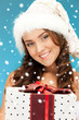 santa helper girl with gift box