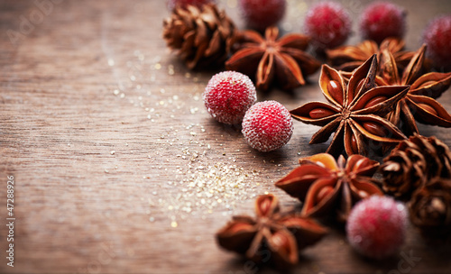 Rustic christmas decoration with star anise