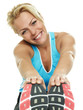 Blond atletic woman has fun to exercise
