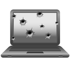 laptop with gun shots on monitor.
