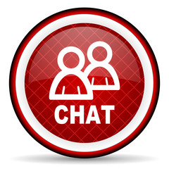 chat red glossy icon on white background
