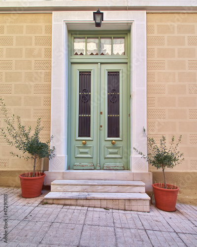 colorful house door and flowerpots, Athens Greece