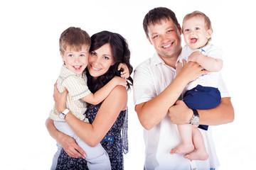 portrait of a family in studio