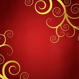 Elegant red background with golden swirls