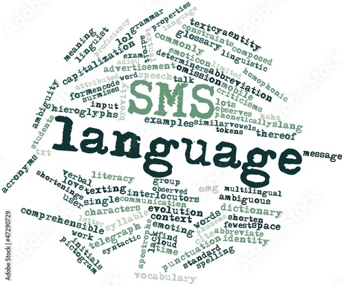 Word cloud for SMS language