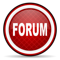 forum red glossy icon on white background