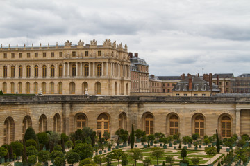 Famous palace Versailles near Paris, France with beautiful garde