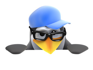 3d Penguin in baseball cap peeps over top of page