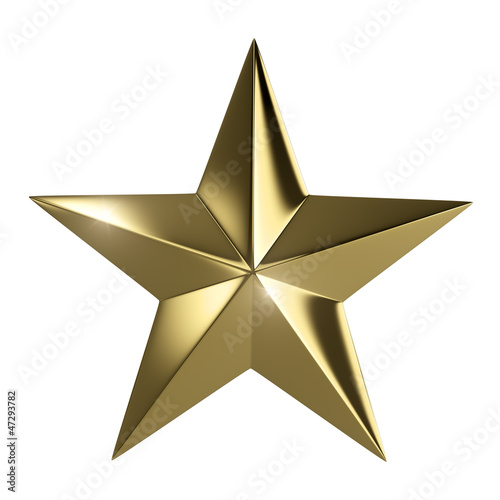 Golden star  isolated with clipping path