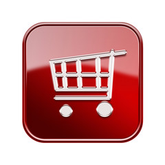 shopping cart icon  red, isolated on white background