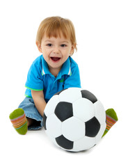 cute little boy with football ball, isolated on white