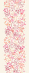 Vector flowers and berries line art vertical seamless pattern
